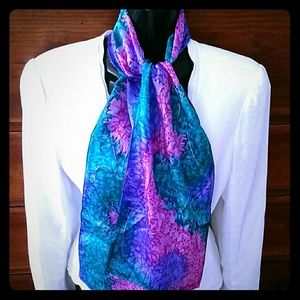 Long silk hand painted signed scarf head wrap